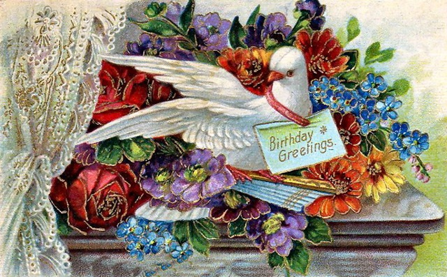 Vintage birthday cards flowers dove lace curtain bookmarktalkfo Image collections
