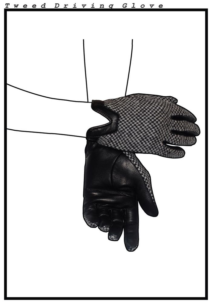 Tweed driving glove