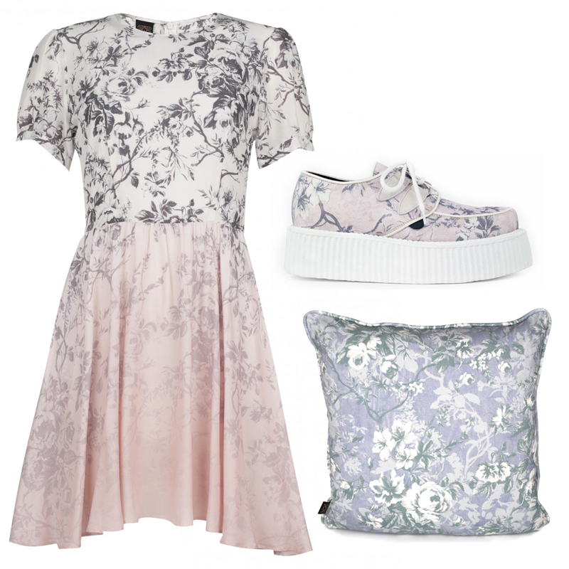 White_rose_pink_black_flower_print_dress