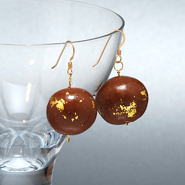 Chocolate and gold leaf earrings IIHHIH