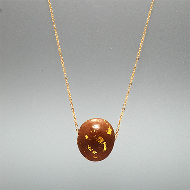Chocolate and gold leaf ball on chain necklace IIHIH