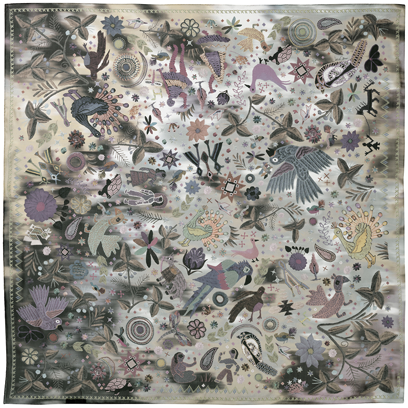 JANE CARR 140104C-0101 The Love Square 100% Silk Voile - Col. Army - Flat
