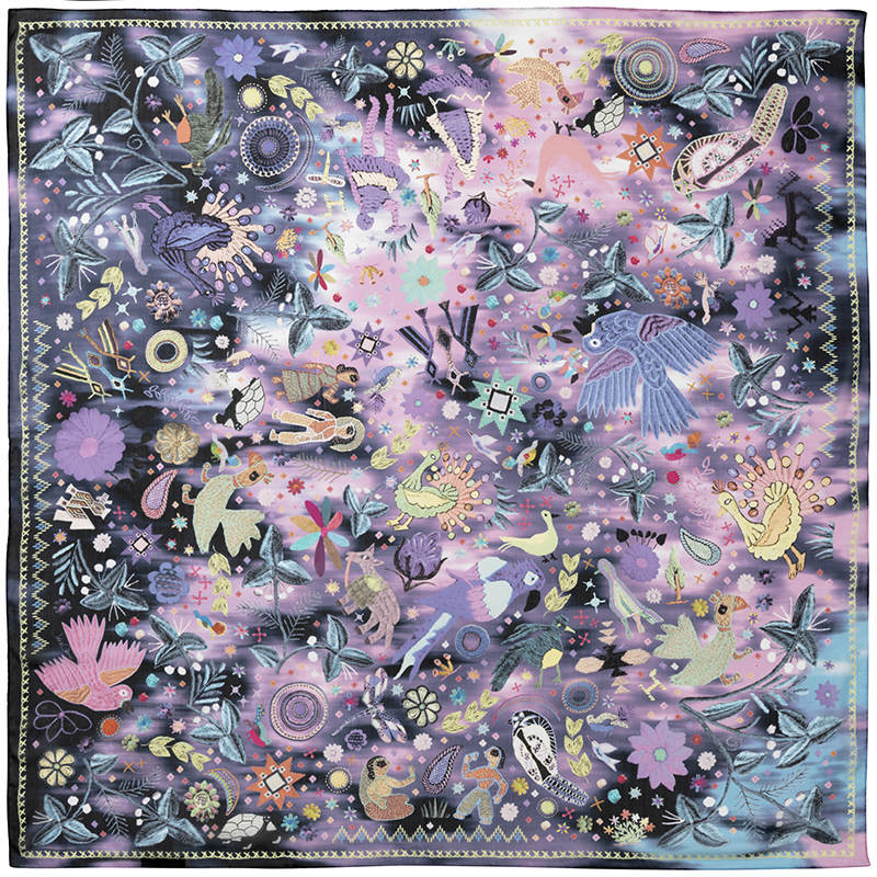 JANE CARR 140104C-0108 The Love Square 100% Silk Voile - Col. Dream - Flat