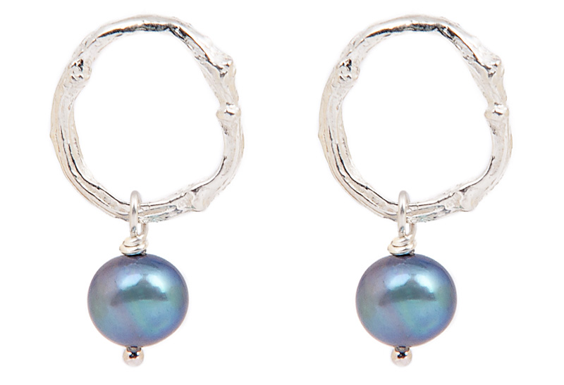 TWIG WITH PEARL STUDS BNE05 - sterling silver black pearl